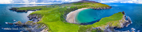 Canvas Print Aerial view of the beautiful coast at Malin Beg in County Donegal, Ireland