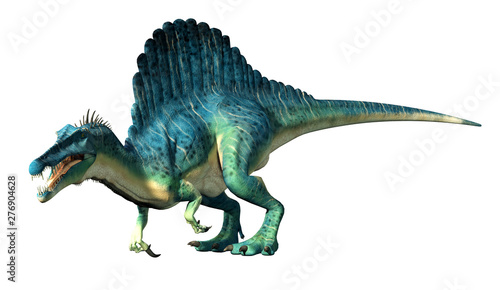 Foto A spinosaurus on a white background