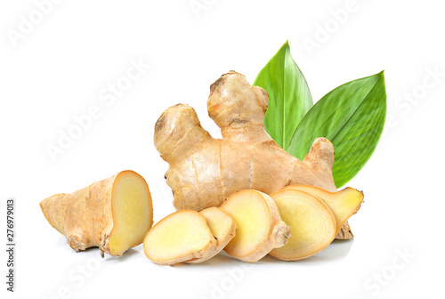 Fotografiet ginger herb with leaf on white background