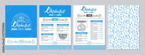 Canvastavla Oktoberfest pub menu template set in a modern minimalist style with festival logo, barrel of beer, beer mugs, pretzels and tradition seamless pattern