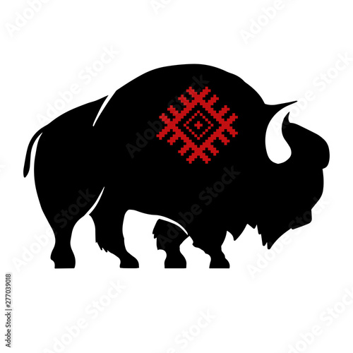 Fotografía Abstract silhouette of bison with slavic red national ornament