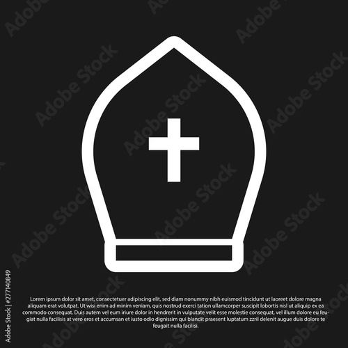 Cuadros en Lienzo Black Pope hat icon isolated on black background