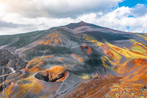 Carta da parati View of the active volcano Etna, extinct craters on the slope, traces of volcanic activity