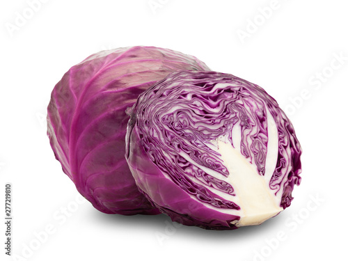 Fotografía Whole red cabbage and half isolated on white background with clipping path