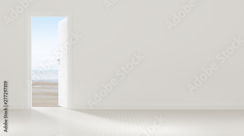 Fotografia Mock-up of white door opening to the  sea view background,Idea of vacation,freedom - 3D rendering