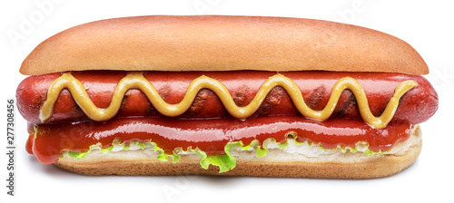 Fotografie, Obraz Hot dog - grilled sausage in a bun with sauces isolated on white background