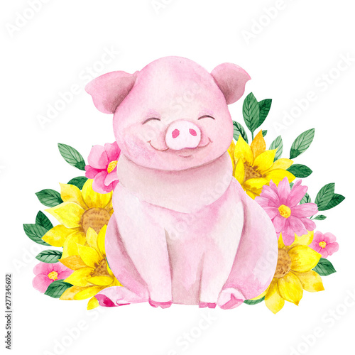 Photo Cute piglet with flowers, watercolor hand draw farm illustration isolated on whi