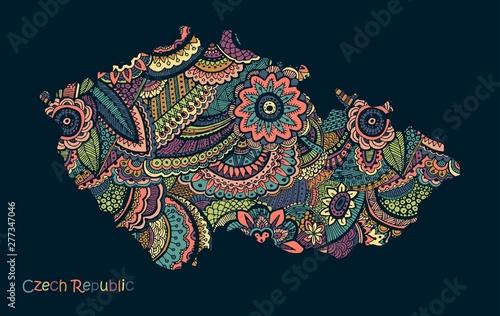 Wallpaper Mural Textured vector map of Czech Republic. Hand drawn ethno pattern.