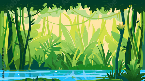 Canvas Print River flows through the jungle around different plants and trees with lianas, wi
