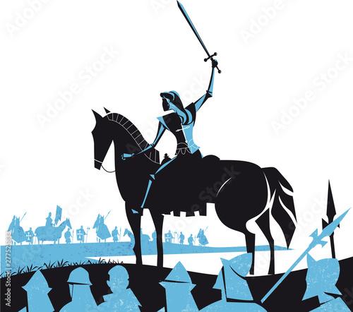 Fotografia Joan of Arc (Jeanne d'Arc) frech heroine, vector illustration