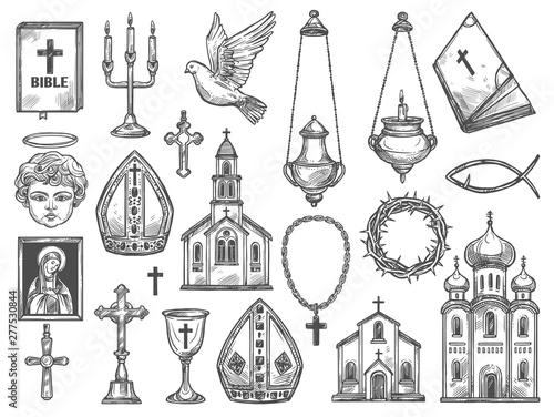Canvas Print Christian religion church, bible, God icon, cross