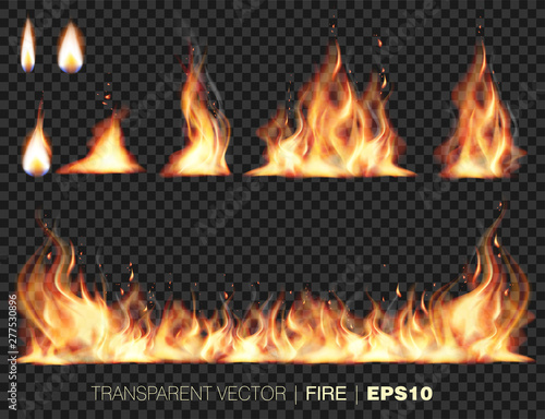 Obraz na plátně Collection of realistic fire flames