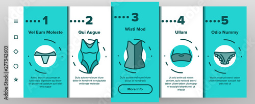 Obraz na płótnie Lingerie Accessories Items Linear Vector Onboarding Mobile App Page Screen