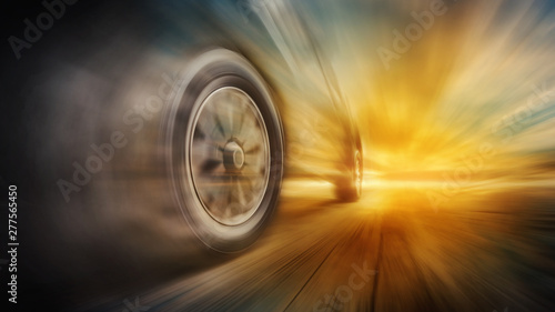 Tires is spin of speeding car