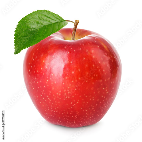 Red apple with green leaf isolated on a white background. Fototapeta