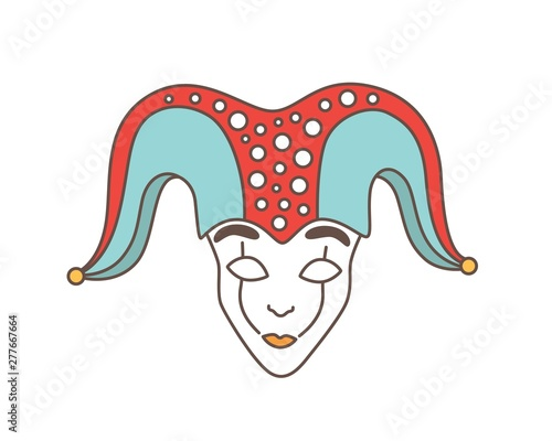 Fototapeta Festive mask of jester, harlequin, trickster, buffoon or droll isolated on white