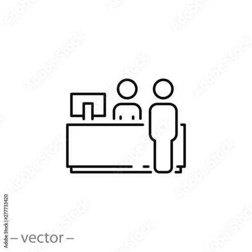 Photo reception desk icon, customer service, counter, thin line symbol for web and mob