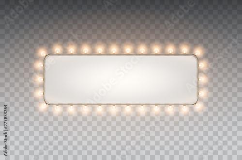 Fototapeta Light rectangle banner isolated on transparent background