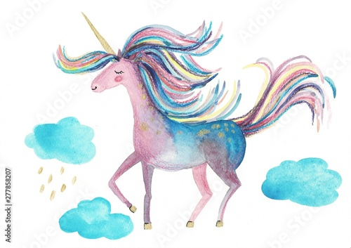 Cute unicorn on a white background for design Fototapeta