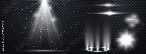 Wall mural Set of Transparent Lens Flares and Lighting Effects. White spotlights.  Light Effects. Realistic falling snowflakes. Vector illustration