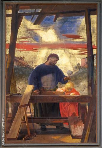 Murais de parede Altarpiece of saint Joseph the Worker, by Pietro Annigoni in the Basilica di San