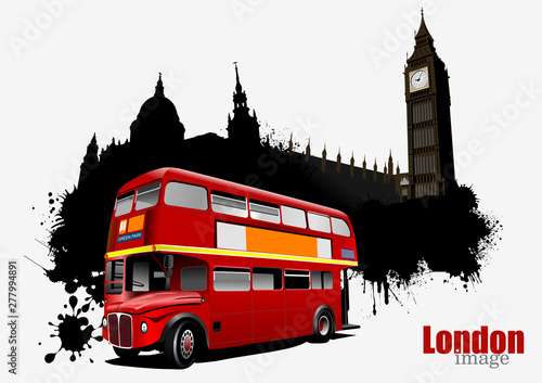 Canvas Print Grunge London banner with double Decker bus images
