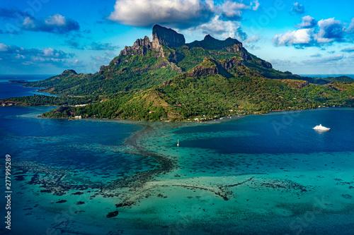 Fotografie, Obraz Bora Bora French Polynesia Paradise Island aerial view panorama