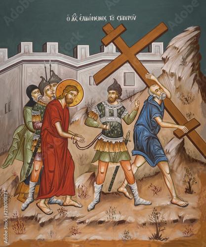 Obraz na płótnie Simon of Cyrene carries cross