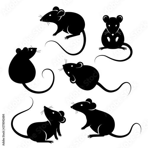 Set of rats black silhouettes Fototapeta