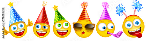 Set of cheerful characters of emoji or smileys with festive accessories for birthday party or other events. Vector illustration.