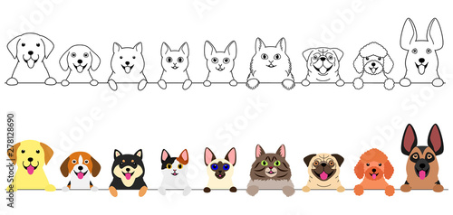 smiling cute dogs and cats border set Fototapeta