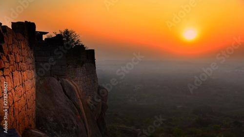 Fotografie, Obraz Sun set from Golconda fort in Hyderabad,India