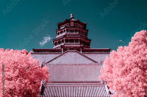 Photo The Summer Palace of Beijing,in infrared light
