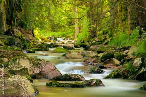 Fotomural Langzeitbelichtung Gewässer im Erzgebirge an der Bockau, Fluss mit Steinen, Wald