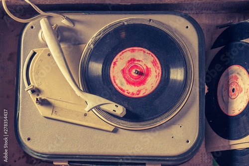 Top view of old gramophone ...