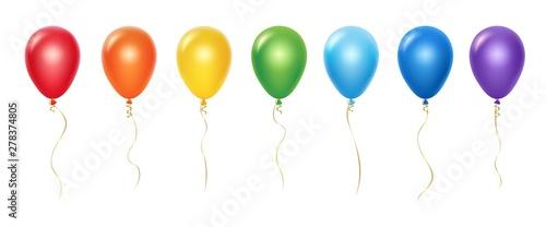 Fotografia, Obraz Realistic rainbow balloons vector set