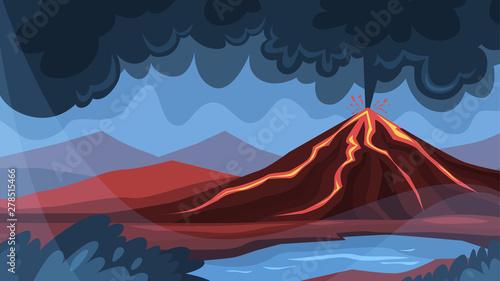 Fotografija Volcano eruption concept. Lava explosion on the ground