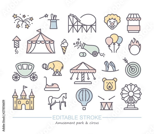 Leinwand Poster Linear icons with editable stroke on the theme of circus and amusement Park