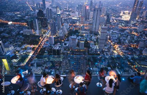 Fotografie, Obraz Bangkok aerial city rooftop  sky bar