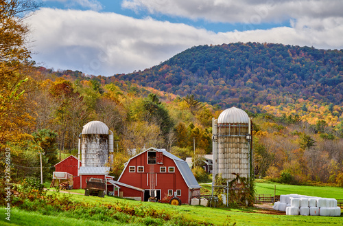Fototapeta Farm with red barn and silos at sunny autumn day in West Arlington, Vermont, USA