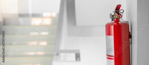 Fotografija Fire extinguisher system on the wall background, powerful emergency equipment fo