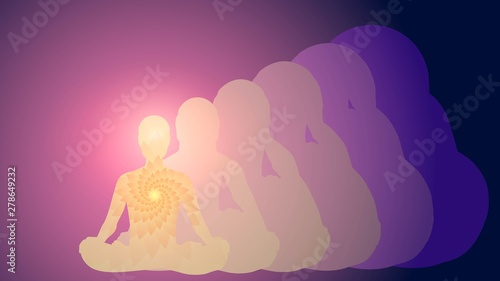 Fotografiet Silhouette of a man in the lotus position, meditation, yoga, aura