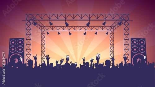 Fotografie, Obraz Scene, crowd of fans, rock concert, music festival, night club