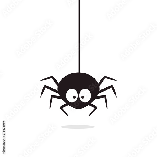 Obraz na płótnie Cute Spider hanging on cobweb. Halloween character