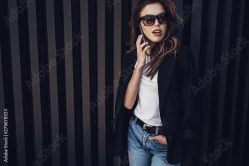 Fototapeta Fashion Portrait of Stylish Pretty Brunette Young Woman Outdoor
