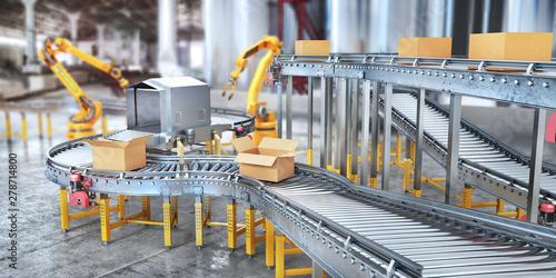 Valokuvatapetti Blank conveyors on a blurred factory background. 3d illustration