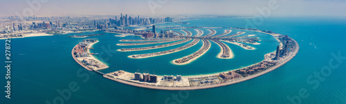 Photo Aerial view on Palm Jumeira island in Dubai, UAE, on a summer day