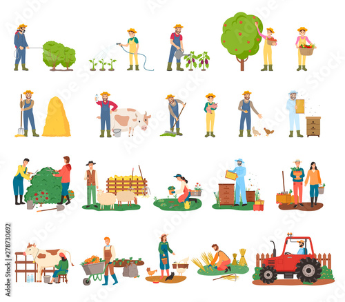 Slika na platnu Man spraying bushes vector, woman gathering fruits from tree, harvesting and beekeeping, sheep and cow, harvest on plantation and tractor machinery