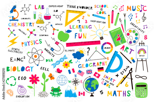 Photographie Back to school flat vector background