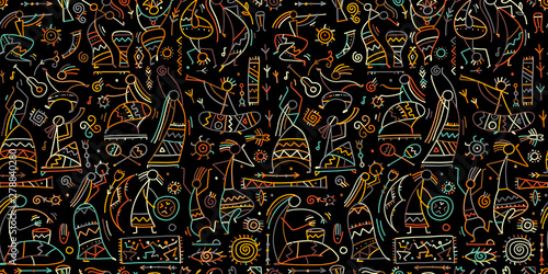 Fototapeta Folk ethnic dance, seamless pattern for your design